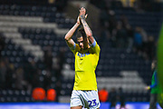 Kalvin Phillips of Leeds United (23) claps the Leeds fans after the match during the EFL Sky Bet Championship match between Preston North End and Leeds United at Deepdale, Preston, England on 9 April 2019.