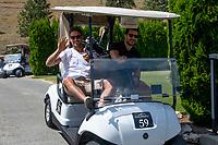 KELOWNA, CANADA - JULY 21: Alumni Justin Keller and Tyler Spurgeon drive their golf cart at the Kelowna Rockets Alumni golf tournament at Black Mountain Golf Club in Kelowna, British Columbia, Canada.  (Photo by Marissa Baecker/Shoot the Breeze)  *** Local Caption ***