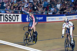 © Licensed to London News Pictures. 19/02/2011. Sir Chris Hoy of Team Sky, celebrates as he takes the Bronze medal from German Levy Maximilan in the Men's Sprint Final at the UCI Track Cycling World Cup in Manchester this evening (19/02/2011). Photo credit should read: Reuben Tabner/LNP