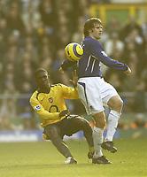 Photo: Aidan Ellis.<br /> Everton v Arsenal. The Barclays Premiership. 21/01/2006.<br /> Everton's Kevin Kilbane and Arsenal's Kerrea Gilbert