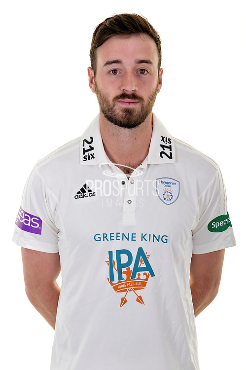 Club Captain James Vince of Hampshire in Specsavers County Championship kit  during the Hampshire County Cricket Club Media Day at the Ageas Bowl, Southampton, United Kingdom on 10 April 2018. Picture by Dave Vokes.