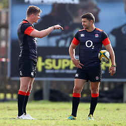 Owen Farrell (captain) of England chats with Ben Youngs of England during the England Rugby training session at  Jonsson Kings Park Stadium,Durban.South Africa. 19,06,2018 Photo by (Steve Haag JMP)