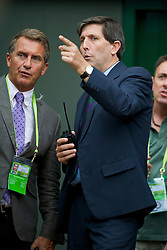 LONDON, ENGLAND - Saturday, June 27, 2009: Wimbledon's tournament referee Andrew Jarrett takes a decision on the closing of the roof as BBC Sport's Gary Richardson stands alongside during the Gentlemen's Singles 3rd Round match on day six of the Wimbledon Lawn Tennis Championships at the All England Lawn Tennis and Croquet Club. (Pic by David Rawcliffe/Propaganda)