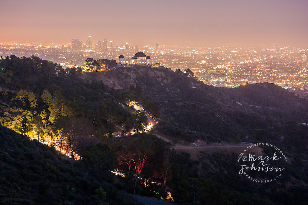 Griffith Observatory and the sprawl of Los Angeles at dusk, Griffith Park,Los Angeles, California, USA