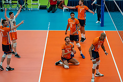 09-06-2019 NED: Golden League Netherlands - Spain, Koog aan de Zaan<br /> Fourth match poule B - The Dutch beat Spain again in five sets in the European Golden League / Nimir Abdelaziz #14 of Netherlands, Wessel Keemink #2 of Netherlands, Fabian Plak #8 of Netherlands, Gijs Jorna #7 of Netherlands, Just Dronkers #19 of Netherlands, Ewoud Gommans #9 of Netherlands