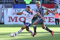 FOOTBALL - FRENCH CHAMPIONSHIP 2012/2013 - L1 - OLYMPIQUE LYONNAIS v AC AJACCIO - 16/09/2012 - PHOTO EDDY LEMAISTRE / DPPI - STEED MALBRANQUE (OL) AND MEHDI MOSTEFA   (ACA)