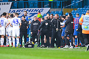 Phil Parkinson of Bolton Wanderers (Manager) gets involved in the altercation on the touchline during the EFL Sky Bet Championship match between Leeds United and Bolton Wanderers at Elland Road, Leeds, England on 23 February 2019.