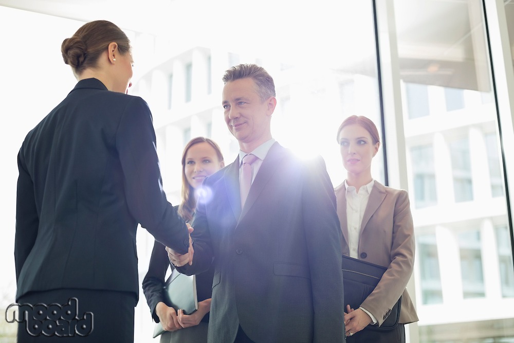 Confident business partners shaking hands in office