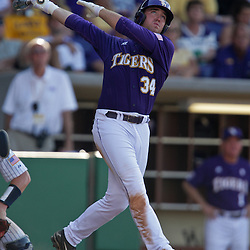 06 June 2009:  Blake Dean (34) of LSU in action during a 5-3 victory by the LSU Tigers over the Rice Owls in game two of the NCAA baseball College World Series, Super Regional played at Alex Box Stadium in Baton Rouge, Louisiana. The Tigers with the win advance to next week's College Baseball World Series in Omaha, Nebraska.