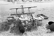 """29/04/1962<br /> 04/29/1962<br /> 29 April 1962<br /> Farm machinery at the R.D.S. Spring Show, Ballsbridge Dublin, feature with Julian Bayley for Farming Express. Image shows a """"Lowe"""" planter."""