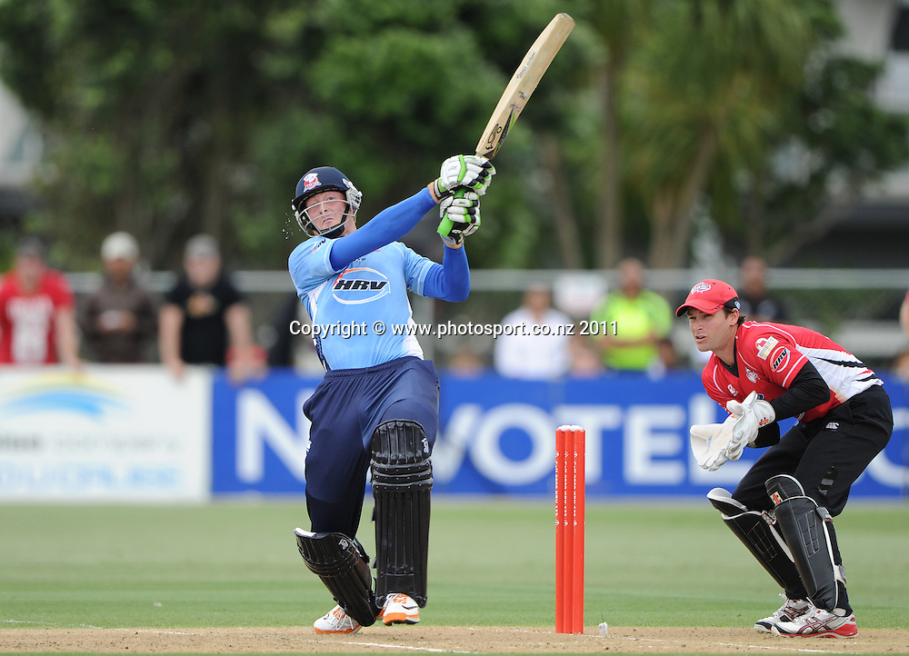 Martin Guptill batting during the HRV Twenty20 Cricket Final between the Auckland Aces and Canterbury Wizards at Colin Maiden Oval in Auckland, New Zealand on Sunday 22 January 2012. Photo: Andrew Cornaga/Photosport.co.nz