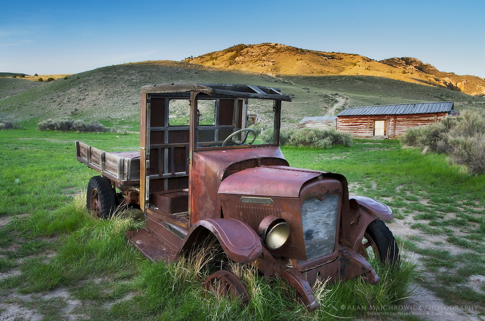 Rusting old Model T Ford historic ghost town Bannack State Park Montana