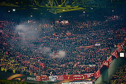DORTMUND, GERMANY - Thursday, April 7, 2016: Liverpool supporters set off a red flare before the UEFA Europa League Quarter-Final 1st Leg match against Borussia Dortmund at Westfalenstadion. (Pic by David Rawcliffe/Propaganda)