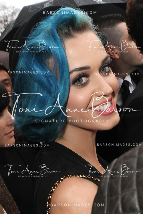 PARIS, FRANCE - MARCH 06:  Katy Perry arrives at the Chanel Ready-To-Wear Fall/Winter 2012 show as part of Paris Fashion Week at Grand Palais on March 6, 2012 in Paris, France.  (Photo by Tony Barson/WireImage)