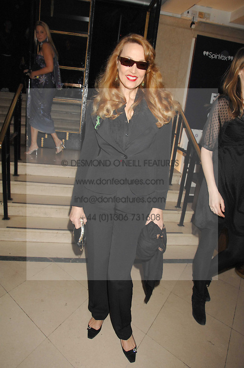 JERRY HALL at 'Figures of Speech' a fundraising gala dinner in aid of the ICA held at the Lawrence Hall, Greycoat Street, London on 27th February 2008.<br />