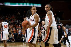 Virginia guard Sharnee Zoll (5) and Virginia forward Lyndra Littles (1) during the Maryland game.  The Virginia Cavaliers women's basketball team fell to the #4 ranked Maryland Terrapins 74-62 at the John Paul Jones Arena in Charlottesville, VA on January 18, 2008.