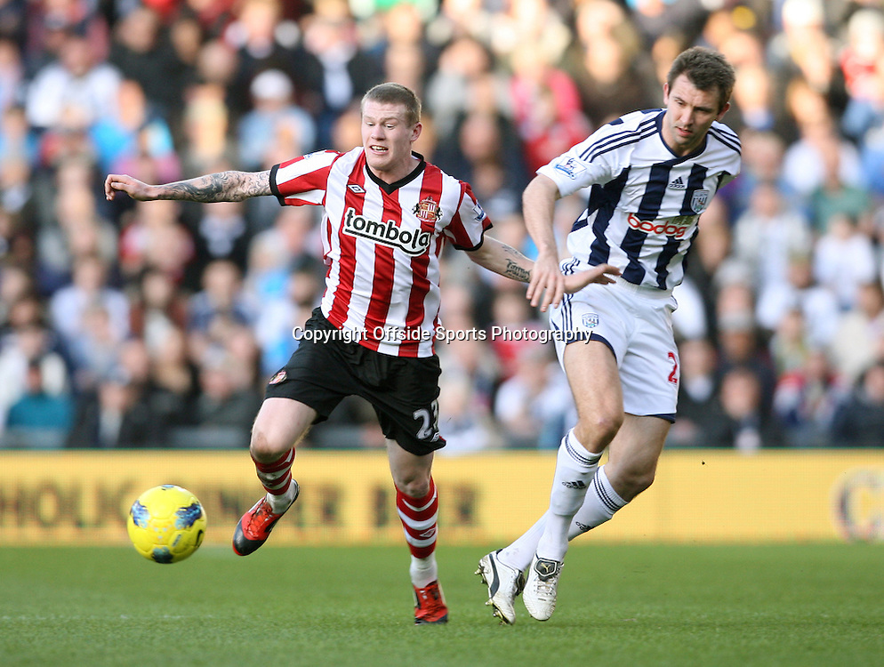 25/02/2012 - Barclays Premier League - West Bromwich Albion vs. Sunderland - James McClean of Sunderland gets away from Gareth McAuley of West Brom - Photo: Simon Stacpoole / Offside.
