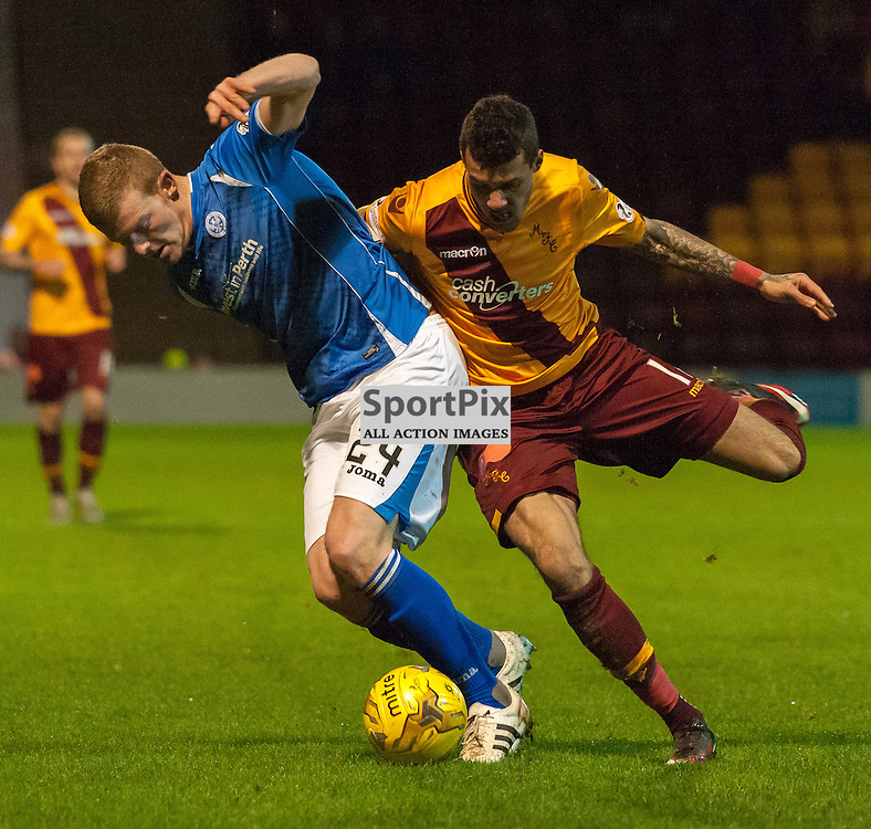 #24 Brian Easton (St Johnstone) and #11 Marvin Johnson (Motherwell) • Motherwell v St Johnstone • SPFL Premiership • 30 December 2015 • © Russel Hutcheson | SportPix.org.uk