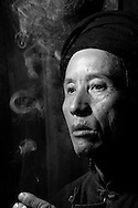 Kaili, Guizhou, China, August 10th 2007: Portrait of a 58 year old Miao man..Photo: Joseph Feil