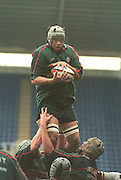 Zurich Premiership Rugby - London Irish v Wasps..London Irish's Geoff Fahrendohn jumps un-opposed, during the game at the Madejski Stadium, Reading, Berks, Great Britain. [Mandatory Credit: Peter Spurrier; Intersport Images].