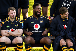 Simon McIntyre, Thomas Young and Josh Bassett of Wasps - Mandatory by-line: Robbie Stephenson/JMP - 18/11/2019 - RUGBY - Broadstreet Rugby Football Club - Coventry , Warwickshire - Wasps Squad Photo