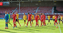 WREXHAM, WALES - Friday, September 6, 2019: Wales players walk out before the UEFA Under-21 Championship Italy 2019 Qualifying Group 9 match between Wales and Belgium at the Racecourse Ground. Goalkeeper George Ratcliffe, Cameron Coxe, Benjamin Cabango, Liam Cullen, Jack Evans. (Pic by Laura Malkin/Propaganda)