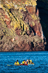 Scottish Sun sports editor Iain King capsizing during a practise session for his charity kayak challenge, in the waters of the harbour at St Abbs..Pic © Michael Schofield...