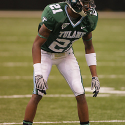 20 September 2008: Tulane cornerback Charles Harris (21) in action during a Conference USA match up between the University of Louisiana Monroe and Tulane at the Louisiana Superdome in New Orleans, LA.