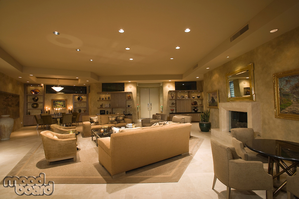 Neutral living room in Palm Springs home
