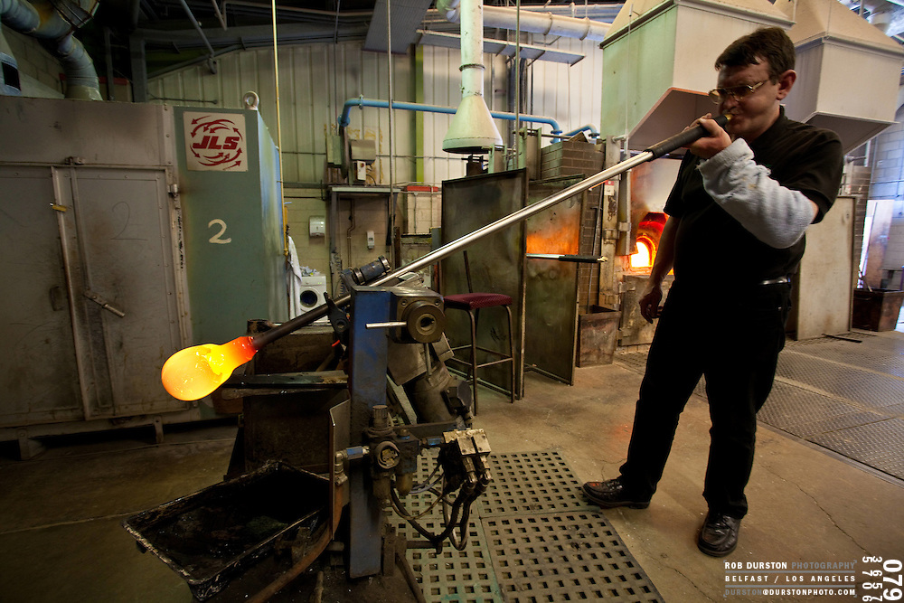 Artisan workers at the Tyrone Crystal factory blow, cut, carve and polish their wares into works of art.