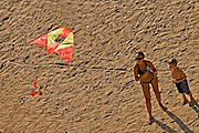 flying a kite on the Natanya beach, Israel