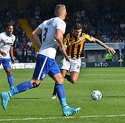 Ryan Inniss is ready to unleash a shot at the bury goal during the Sky Bet League 1 match between Bury and Port Vale at Gigg Lane, Bury, England on 19 September 2015. Photo by Mark Pollitt.