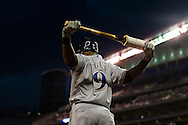 Jean Segura #9 of the Milwaukee Brewers waits on-deck during a game against the Minnesota Twins on May 29, 2013 at Target Field in Minneapolis, Minnesota.  The Twins defeated the Brewers 4 to 1.  Photo: Ben Krause