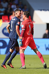 07.08.2016, Voith Arena, Heidenheim, GER, 2. FBL, 1. FC Heidenheim vs FC Erzgebirge Aue, 1. Runde, im Bild Denis Thomalla ( 1.FC Heidenheim ) Martin Maennel ( FC Erzgebirge Aue ) streiten // during the 2nd German Bundesliga 1st round match between 1. FC Heidenheim and FC Erzgebirge Aue Voith Arena in Heidenheim, Germany on 2016/08/07. EXPA Pictures © 2016, PhotoCredit: EXPA/ Eibner-Pressefoto/ Langer<br /> <br /> *****ATTENTION - OUT of GER*****