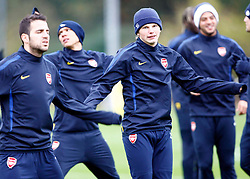 22.11.2010, Colney, London, ENG, UEFA CL, Arsenal Training, im Bild Arsenal's Cesc Fabregas with Arsenal's Andrei Arshavin, EXPA Pictures © 2010, PhotoCredit: EXPA/ IPS/ Kieran Galvin *** ATTENTION *** UK AND FRANCE OUT!