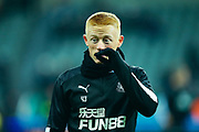 Matty Longstaff (#43) of Newcastle United warms up ahead of the Premier League match between Newcastle United and Chelsea at St. James's Park, Newcastle, England on 18 January 2020.