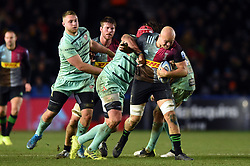 Tom Lawday of Harlequins takes on the Gloucester Rugby defence - Mandatory byline: Patrick Khachfe/JMP - 07966 386802 - 01/12/2019 - RUGBY UNION - The Twickenham Stoop - London, England - Harlequins v Gloucester Rugby - Gallagher Premiership