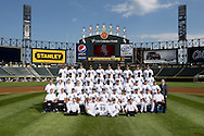 CHICAGO - AUGUST 07:  The Chicago White Sox pose for their official team photo on August 7, 2012 at U.S. Cellular Field in Chicago, Illinois.  FIRST ROW:  Batboys  SECOND ROW:  Assistant Trainer Brian Ball, Head Trainer Herm Schneider, Bullpen Catcher Mark Salas, First Base Coach Harold Baines, Hitting Coach Jeff Manto, Manager Robin Ventura, Pitching Coach Don Cooper, Third Base Coach Joe McEwing, Bench Coach Mark Parent, Bullpen Coach Juan Nieves, Director of Conditioning Allen Thomas THIRD ROW:  Visiting Clubhouse Manager Gabe Morell, Umpires Clubhouse Manager Joe McNamara Jr., White Sox Clubhouse Assistant Manager Rob Warren, White Sox Clubhouse Manager Vince Fresso,  Ray Olmedo, Alexei Ramirez, Orlando Hudson, Gordon Beckham, Jordan Danks, Batting Practice Pitcher Adam Ricks, Batting Practice Pitcher Mike Kashirsky, Computer Scouting Analyst Mike Gellinger, Director of Team Travel Ed Cassin   FOURTH ROW:  Alejandro De Aza, Dayan Viciedo, Jose Quintana, Brett Myers, Paul Konerko, Kevin Youkilis, Jake Peavy, Jesse Crain, Francisco Liriano,  Leyson Septimo  FIFTH ROW:  Alex Rios, Nate Jones, Gavin Floyd, A.J. Pierzynski, Matt Thornton, Adam Dunn, Chris Sale, Tyler Flowers, Philip Humber, Addison Reed, NOT PICTURED:  Brian Bruney, John Danks (Disabled List) (Photo by Ron Vesely)