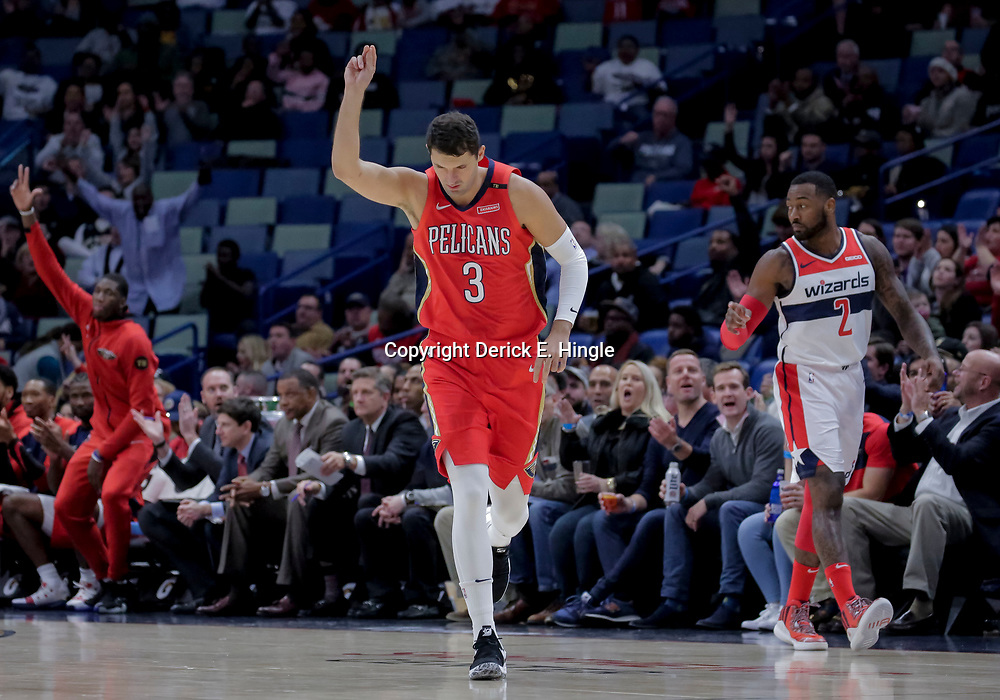 Nov 28, 2018; New Orleans, LA, USA; New Orleans Pelicans forward Nikola Mirotic (3) reacts after a three point basket against the Washington Wizards during the first quarter at the Smoothie King Center. Mandatory Credit: Derick E. Hingle-USA TODAY Sports