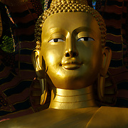 Face of the Buddha at the Shrine of King Khun Samchon, Mae Sot , Thailand.