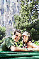 Spain Barcelona Sagrada Familia young couple enjoying view portrait