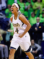 SOUTH BEND, IN - MARCH 04: Skylar Diggins #4 of the Notre Dame Fighting Irish reacts in the closing minutes against the Connecticut Huskies at Purcel Pavilion on March 4, 2013 in South Bend, Indiana. Notre Dame defeated Connecticut 96-87 in triple overtime to win the Big East regular season title. (Photo by Michael Hickey/Getty Images) *** Local Caption *** Skylar Diggins