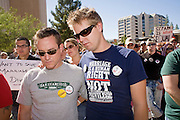 15 NOVEMBER 2008 -- PHOENIX, AZ: SCOTT BOWERMAN (left) and his husband, WES FULLER, at a gay rights rally in Phoenix, AZ. They were married in California in August. About 1,500 people, gay and straight, participated in a rally at the Phoenix, AZ, city hall to protest the passage of Proposition 102 in Arizona and Proposition 8 in California on November 4. In both states the propositions essentially defined marriage as between a man and woman and banned same sex marriages. The protest in Phoenix was one of several held across the United States Saturday. Photo by Jack Kurtz / ZUMA Press