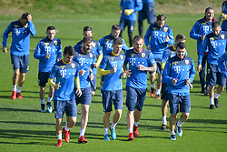 November 13, 2017 - Mogosoaia, Romania - Sergiu Hanca, Mihai Balasa, Florin Tanase, Denis Alibec, Constantin Bodescu of Romania Football Team during a training session at Mogosoaia, Romania on 13 November 2017. (Credit Image: © Alex Nicodim/NurPhoto via ZUMA Press)