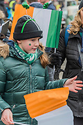 Supporters of the St Coleman's Pipe Band from Ballindaggin -  the London St Patrick's Day parade from Piccadilly to Trafalgar Square.