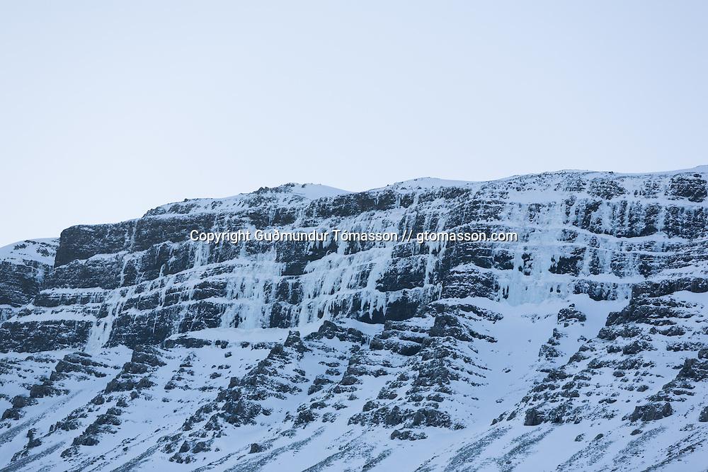 The climbing area Tröllhamrar, Breiðdalur, Iceland.