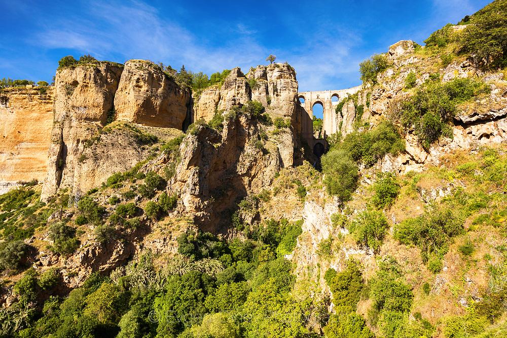Stone bridge above El Tajo gorge in Ronda