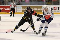 Champions League Ice Hockey, 18. august 2016 ,  Stavanger Oilers v HK Nitra<br />Peter Lorentzen of Stavanger Oilers in action v Lukas Paukovcek of HK Nitra<br />Foto: Andrew Halseid Budd , Digitalsport