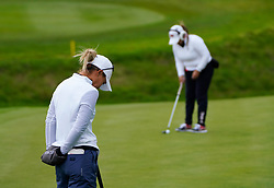 Auchterarder, Scotland, UK. 14 September 2019. Saturday afternoon Fourballs matches  at 2019 Solheim Cup on Centenary Course at Gleneagles. Pictured; Danielle Kang (l)  and Lizette Salas of Team USA.  Iain Masterton/Alamy Live News