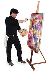 Fine art painter wearing a beret, holding artist pallete while painting a canvas on an easel on a white backgound